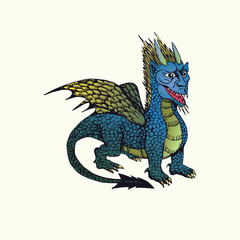 Blue (wind or water) horned dragon with wings, hand drawn doodle sketch, isolated vector outline illustrationŒ