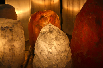 Himalayan pink salt, lamp for meditation and concentration