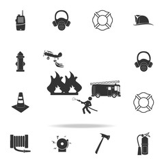 illustration of fire extinguishing icon. Detailed set icons of firefighter element icons. Premium quality graphic design. One of the collection icons for websites, web design