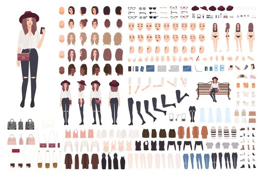 Young trendy woman or girl construction kit or creation set. Bundle of various postures, hairstyles, faces, legs, hands, clothes, accessories. Front, side, back views. Cartoon vector illustration.