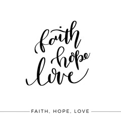 Faith Hope Love, Vector Bible Calligraphy, Faith Hand Lettering, Modern Script Font Lettering,Vector Poster with Modern Calligraphy