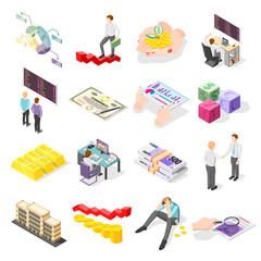 Stock Exchange Isometric Icons
