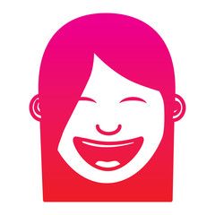 cartoon face woman happy laughing character