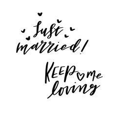 Just Married, Vector Love Calligraphy, Sweet Hand Lettering, Modern Script Font Marriage Lettering,Vector Poster with Modern Calligraphy