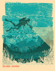 Silhouette of scuba driver underwater.Vintage sea poster background