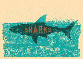 Shark swimming in sea on old paper poster