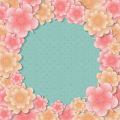 Background with flowers - layout with copyspace for Mother's Day, Women's Day. Vector.