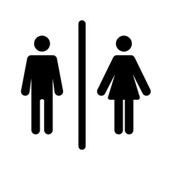 Male and female toilet sign vector illustration. Black silhouette on white background.