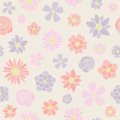 Pastel coloured flowers - seamless pattern. Mother's Day, Woman's Day and Valentine's Day. Vector.