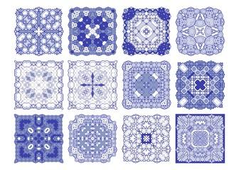 Vector tiles blue pattern, Lisbon floral mosaic