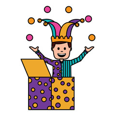 happy joker in the box with jester hat and balls trick