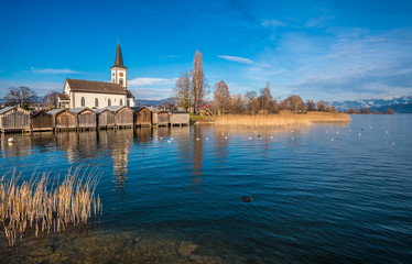 The enchanting ancient village of Busskirch on the shores of the Zurich Lake, Rapperswil-Jona, Sankt Gallen, Switzerland