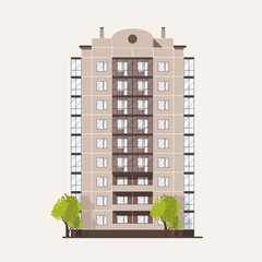 Fototapete - Panel building with multiple floors with balconies and pair of trees growing beside. Multi story living house isolated on white background. Prefab architecture and construction. Vector illustration.