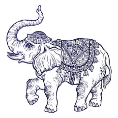 Vintage Indian ethnic dancing boho elephant.