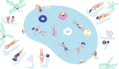 Group of people dressed in swimwear swimming in pool or lying down on sunloungers and sunbathing. Men and women performing summer outdoor water activities. Colorful vector illustration in flat style.