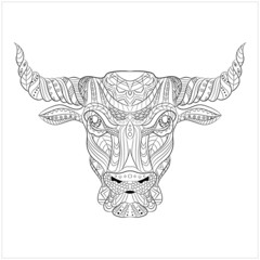 Drawing bull zentangle style on white background for coloring book, tattoo, t-shirt design, logo, sign, bag, postcard, poster. Stylized illustration of patterned bull. Vector illustration. Eps10