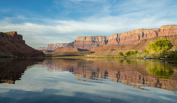 Colorado river rafters early morning near Lees Ferry, AZ.