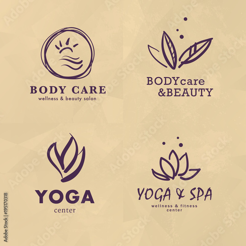 Vector Collection Of Stylized Beauty Spa Yoga Symbols Silhouettes