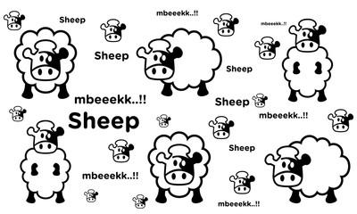 cute sheep pattern.seamless sheep cartoon pattern.vector illustration