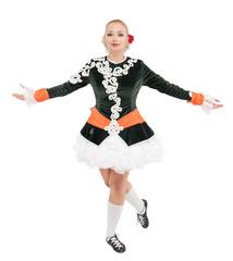 Beautiful woman in dress for Irish dance isolated