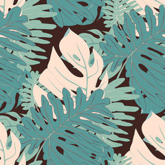 Seamless Tropical Vector Botanical Pattern