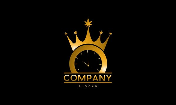 Clock Golden Time Royal Creative Luxury Logo