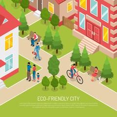 Eco Friendly City Isometric Illustration
