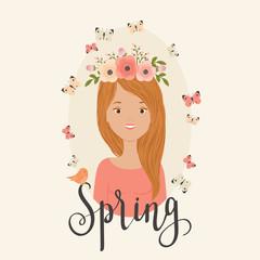 Spring girl vector illustration