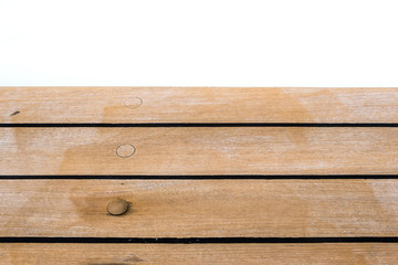 empty wooden table top surface on white background