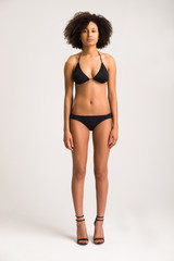 Gorgeous Swimwear Model Wearing a Black Bikini - Full Length