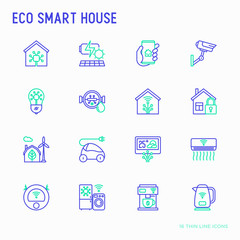 Eco smart house thin line icons set: solar battery, security, light settings, appliances, artificial intellegence, mobile app control. Energy saving and new technologies vector illustration.
