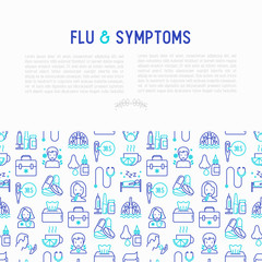 Flu and symptoms concept thin line icons: temperature, chills, heat, runny nose, bed rest, pills, doctor with stethoscope, nasal drops, cough, phlegm in the lungs. Vector illustration.