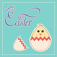 Happy Easter chick in cracked egg with text and border in vector format