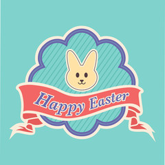 Happy Easter with yellow Peeps banner and ornate frame in vector format