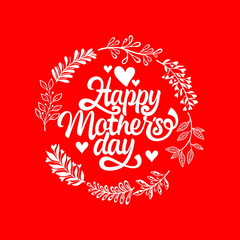 Typography and lettering with design elements and silhouettes for a happy mother's day