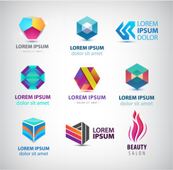 Business icons set. Abstract logos, company idntity design elements, creative symbols. Use for ad, banners, flyers, web sites