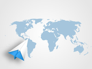 Origami airplain on world map as background represents concept of travel, transportation, journey and global connection. Vector illustration