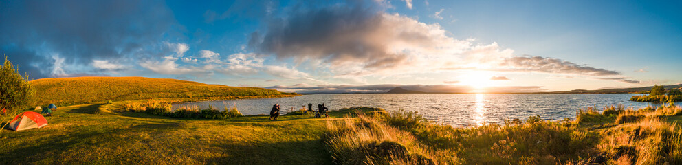 Panoramic view of sunset at Myvatn lake on Iceland, summer