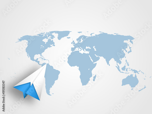 Origami airplain on world map as background represents concept of origami airplain on world map as background represents concept of travel transportation journey and gumiabroncs Gallery