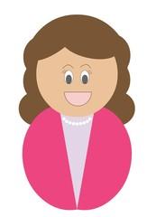Mulher com cabelo comprido e camisa cor de rosa