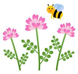 れんげ草と蜂