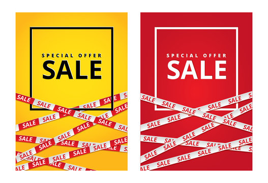 Red yellow sale tape ribbon card