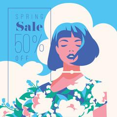 Spring Sale Banner, Sale Poster, Sale Flyer. 50 Off, Vector illustration.