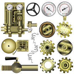 Steampunk machine gears and other details, set of hand drawn vector objects isolated on white background for games and web design.
