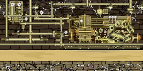 Seamless steampunk fantasy horizontal background with machine, brass gears, pipes and other devices, 3 separate layers ready for parallax effect for games and web design. Vector endless background.