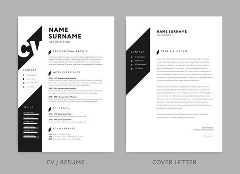 Minimalist CV / resume and cover letter - minimal design - black and white background vector - stylish minimalism