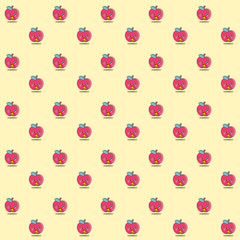 Pattern of a kawaii illustration of an cute red apple eating pepperoni and pepper pizza. Healthy food eating fast food. Now we've seen everything!