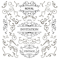 Vector set of classic swirls, luxury design elements. Frames and borders. Use for ad, invitations