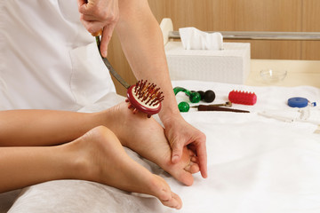 Professional massotherapy - Feet massage with special tools