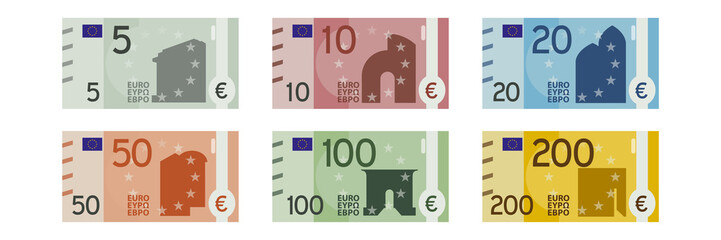alle Geldscheine - Euro Banknoten - 5 - 10 - 20 - 50 - 100 - 200